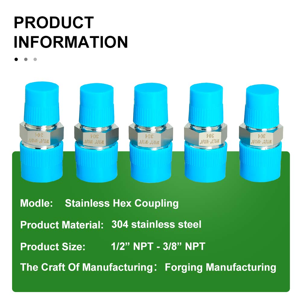 1//2-Inch Male Pipe x 3//8-Inch Male Pipe Taisher 2PCS Forging of 304 Stainless Steel Fitting Reducer Adapter