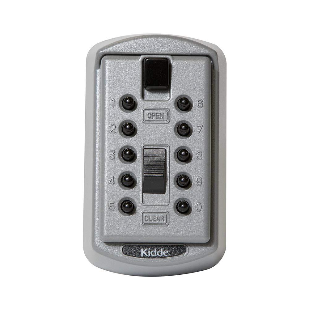 Kidde AccessPoint 001170 KeySafe Original Slimline Push Button Combination Permanent Key Lock Box, 2-Key, Titanium Gray