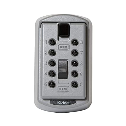 Kidde AccessPoint 001170 KeySafe Original Slimline Push Button Combination  Permanent Key Lock Box, 2-Key, Titanium Gray