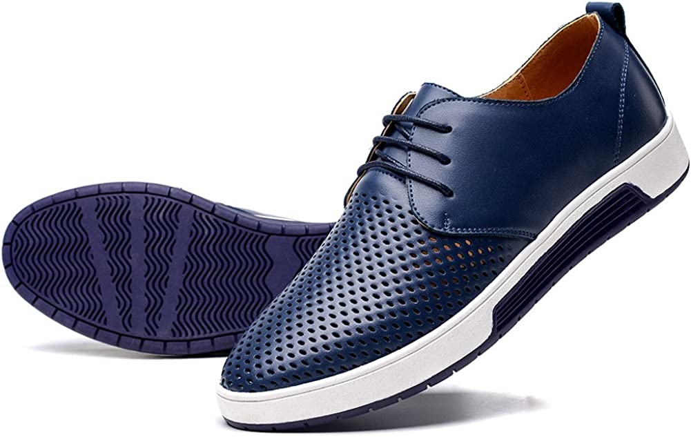 HYF Mens Oxfords Flat Heel Solid Color Lace Up PU Leather Formal Shoes Dress Shoes Business Shoes for Men