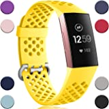 Wepro Bands Compatible with Fitbit Charge 4 / Charge 3 / Charge 3 SE, Waterproof Band with Breathable Holes for Women Men, Sm