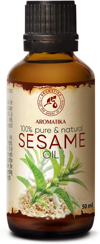 Sésamo Aceite 50ml - Sesamum Indicum - México - 100% Puro y Natural - Cuidado Intensivo para el Rostro - Cuidado Corporal - Cabello - para Masaje - Aceite de Sésamo en la Botella de Vidrio