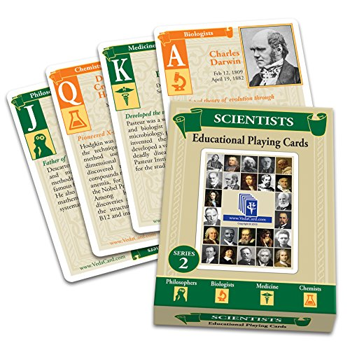 Educational Playing Card (VedaCard Scientists Series 2 Educational Playing Cards - Deck for Home, School or Game Night - Have Fun Learning)