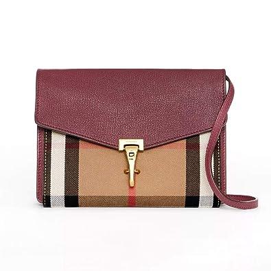 cf01780c5fd3 So-Burberry Small Leather and House Check Crossbody Bag (Mahogany ...