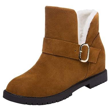 e4fc112eb5ab11 Stiefel Damen Martain Boots Frauen Wedges Schuhe Stiefeletten Schnee Stiefel  Wildleder Schnalle Stiefel Runde Kappe Halten