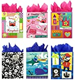 Pirate and Princess Gift Bags + Tissue Paper, Birthday Gift Bags for Boys and Girls (6 Gift Bags + Tissue Paper, Pirate and Princess)