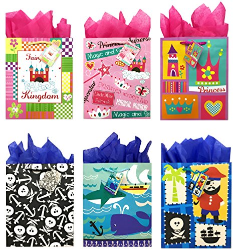 Pirate and Princess Gift Bags + Tissue Paper, Birthday Gift Bags for Boys and Girls (6 Gift Bags + Tissue Paper, Pirate and Princess) -