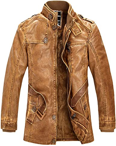 OSTELY Mens Jacket Leather Locomotive Outwear Autumn Winter Stand Collar Slim Fit Coat Warm Tops