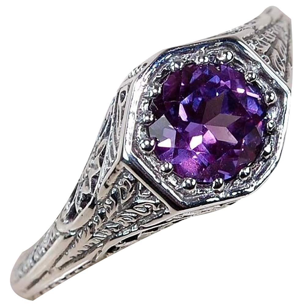 Slendima Exquisite Retro Purple Rhinestone Inlaid Ring Trendy Wedding Bridal Jewelry Gift Purple US 8