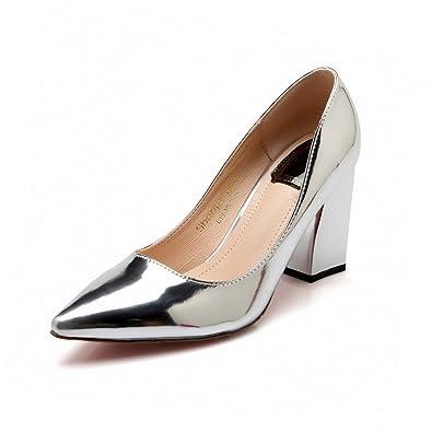 Damen PU Leder Hoher Absatz Rund Zehe Rein Schnüren Pumps Schuhe, Aprikosen Farbe, 35 AllhqFashion