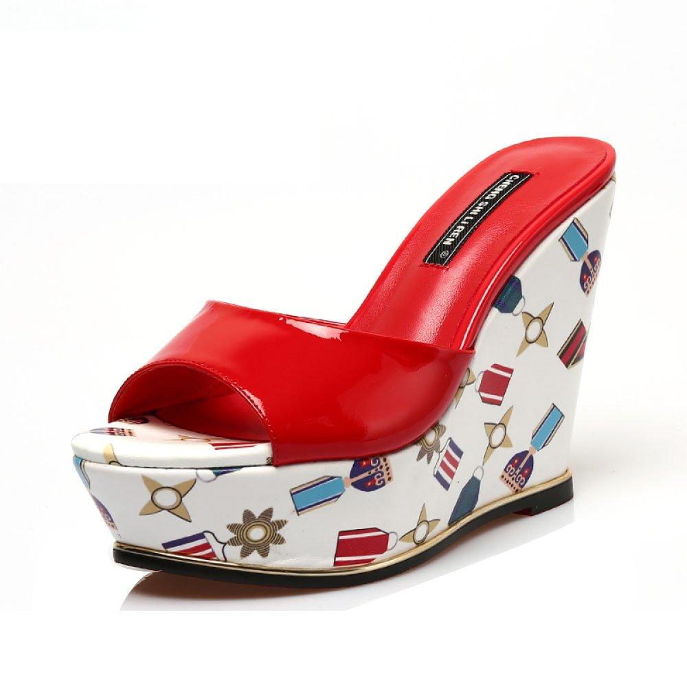 CHENGXIAOXUAN Sandales Mode pour Femmes Pantoufles Plates-Formes D'été Tongs à Talons Hauts Sandales en Cuir Sandales Compensées 11 Cm de Haut