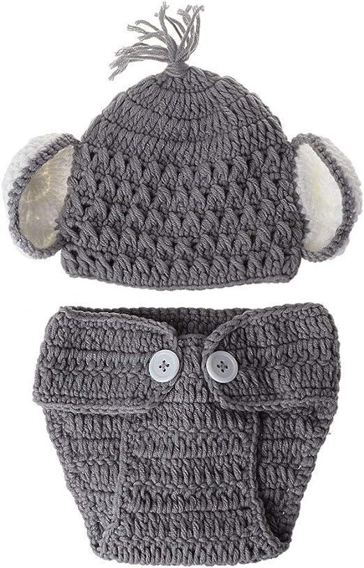 VIccoo Gorra de Bebe, Nacido Bebé Elefante Tejido Crochet Sombrero ...