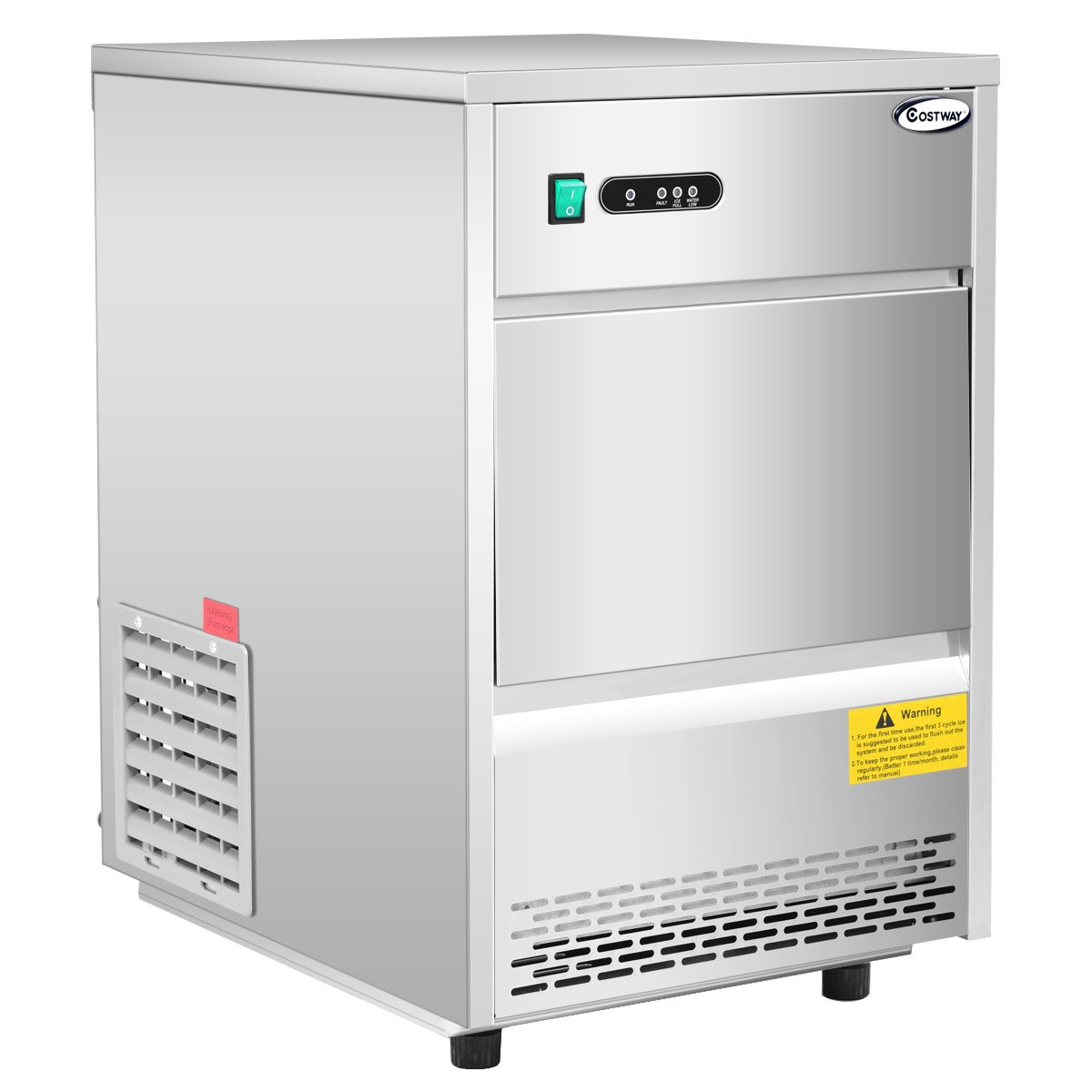 Costway Stainless Steel Commercial Automatic Ice Maker Portable Freestanding Ice Machine (58 lbs/24h) 23363-CYPE-CS