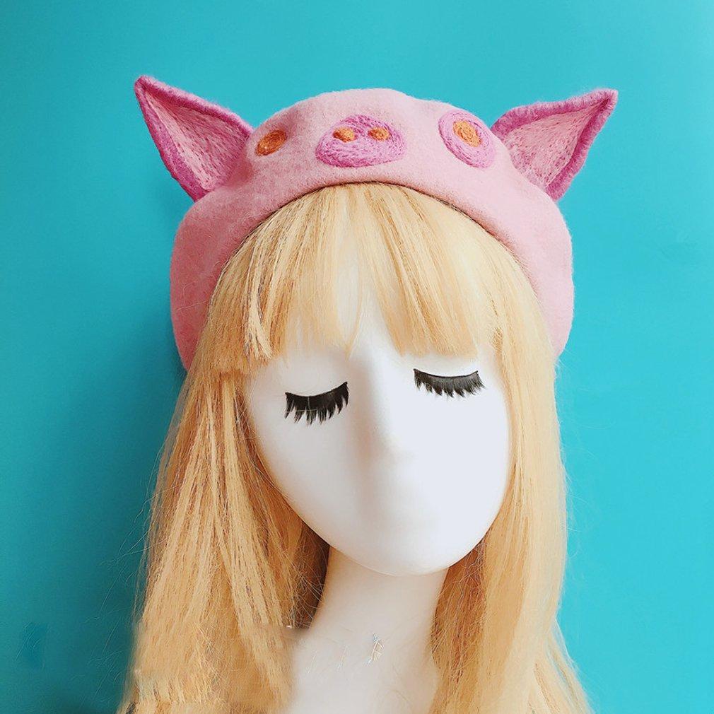 cfbf24f7ef2fc hearty lady Kawaii Handmade Cartoon Beret hat Vintage Lolita Mori Girl Wool  Cap (pig) at Amazon Women s Clothing store