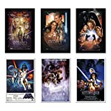 """Star Wars: Episode I, II, III, IV, V & VI - Movie Poster Set (6 Individual Full Size Movie Posters) (Size: 24"""" x 36"""" each)"""