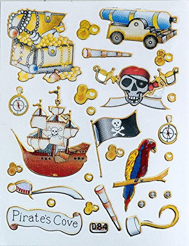 Sticker Treasure - Jazzstick 100 Small Glitter Pirate Ship Jolly Roger Flag and Gold Treasure Canon Scrapbook Stickers for Kids 10 sheets 09A26