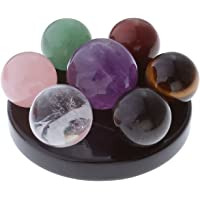 JSDDE 7 Chakra Gemstone Ball Sphere Set on Black Obsidian(Heart Chakra) Hexagram Stand Reiki healing crystals Authentic Stress Free Relaxation Fengshui Seven-star Appetizer Plate(7 chakra #1)