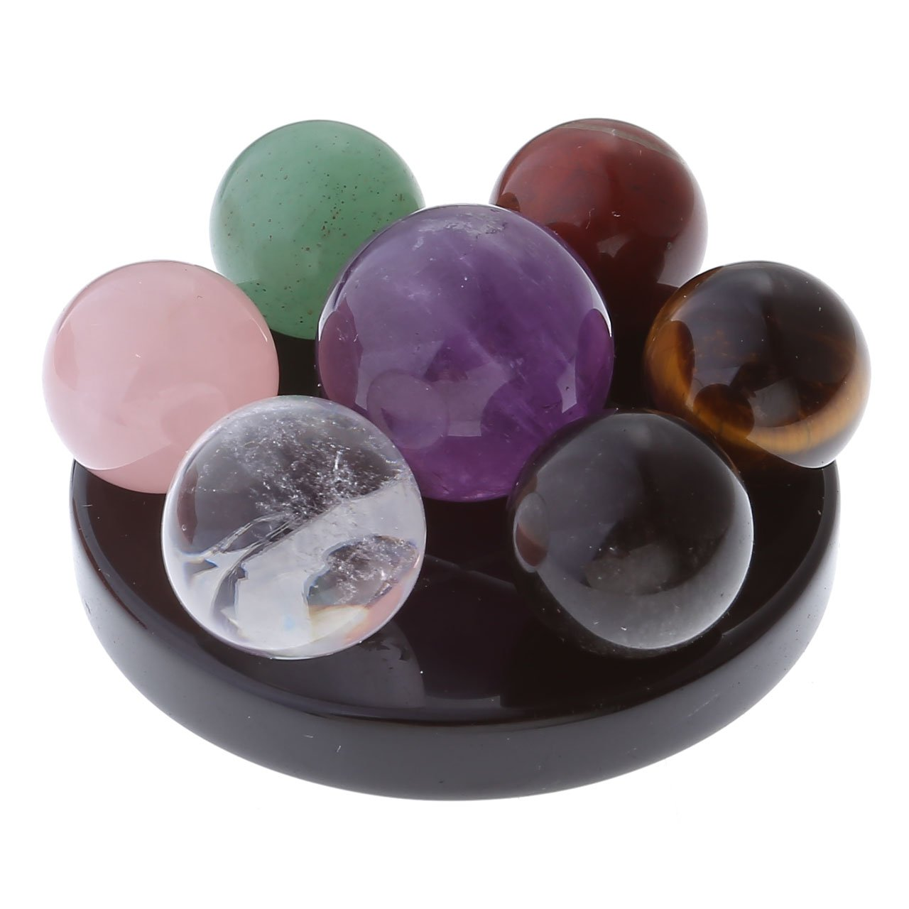 Top Plaza 7 Chakra Star Group Rock Healing Energy Gemstone Crystal Balls Statue Figurines Array on Obsidian Stand, for Chakra Healing, Devination, Home Decor(16 MM Balls Obsidian Stand) JSDUK60495