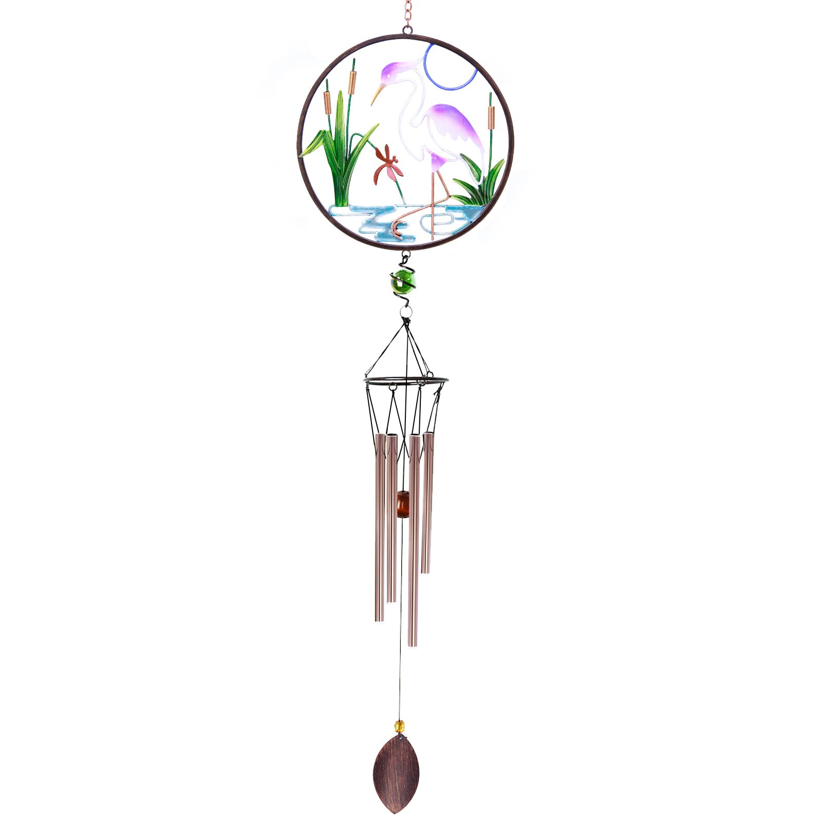 CREATIVE DESIGN CD-WC02, 32''H White Crane Wind Chimes, Portable Metal Garden Home Garden Decoration