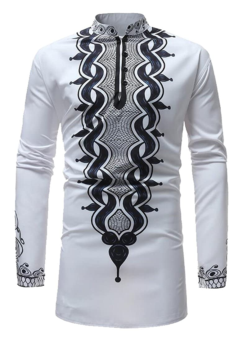 Fubotevic Mens Casual Long Sleeve African Print Dashiki Stand Collar Button Down Dress Shirt