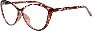 Ladies Cateye Glasses Frames Progressive Multi Focus Clear Lens Computer Reading Glasses-5865(demi red, up 1.00 down 2.50)
