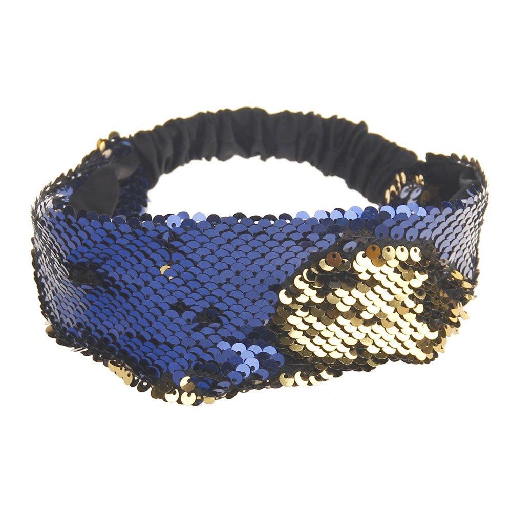 Women Fashion Hair Ball Cotton Headbands Sequins Yoga Elastic Run Head Wrap Wide Hair Accessories Sport Turban ODGear (B)