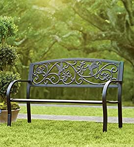 Plow & Hearth Hummingbird Patio Garden Bench Park Yard Outdoor Furniture, Detailed Decorative Design with Vines and Flowers, Classic Black Finish, Easy Assembly, 50 L x 17 1/2 W x 34 1/2 H