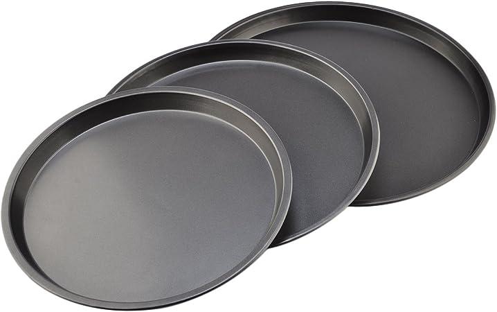 Teckpeak, lote de 3 bandejas para horno de acero de carbono, forma redonda, antiadherentes, ideales para galletas o pizzas, color negro: Amazon.es: Bricolaje y herramientas