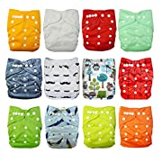 Babygoal Baby Cloth Diapers,One Size Adjustable Reusable Pocket 12pcs Diapers+12pcs Charcoal Bamboo Inserts+Wet Bag+4pcs Baby Wipes 12fn47-3
