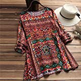 Women Floral Printed Long Sleeve Tunic Swing Tops Shirt Blouse