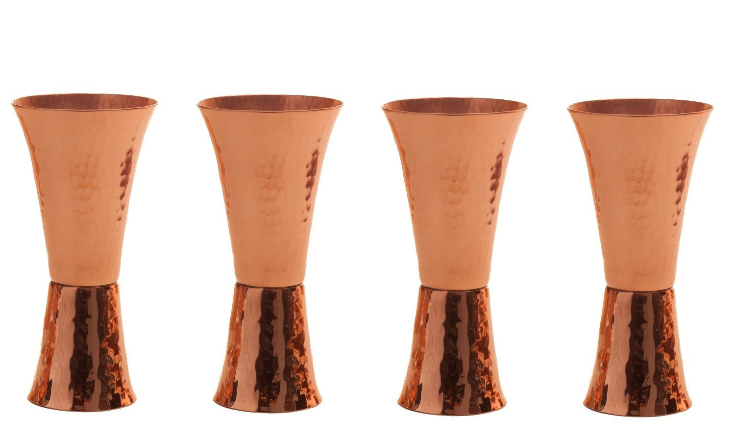 Sertodo Copper, Hand Hammered 100% Pure Copper, Double Sided Jigger, 1 oz. and 2 oz. measured shots, Set of 4