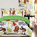 3 Piece Safari Themed Comforter Full Queen Set, Wild Jungle Animals Allover, Monkeys Elephants Tigers Giraffe Children Kids African Bedding Cute Creatures!
