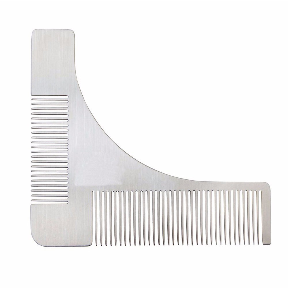 Z-synka Stainless Steel Metal Beard Shaping Tool & Shaper Template Grooming Kit Guide for Men, Perfect Moustache Comb Shaper