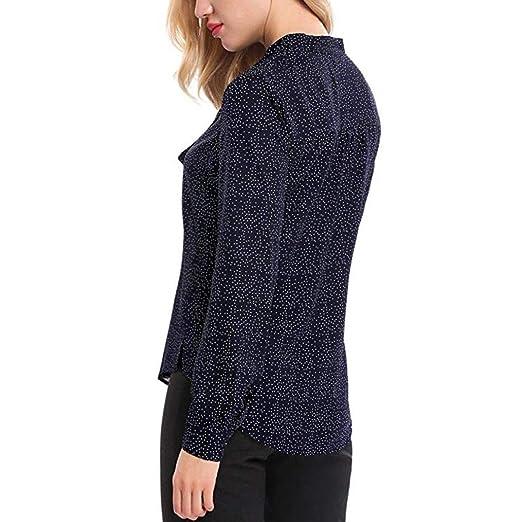 Women Autumn Blouse MITIY O Neck Long Sleeve Polka Dot Chiffon Top Casual Tops T-Shirt at Amazon Womens Clothing store: