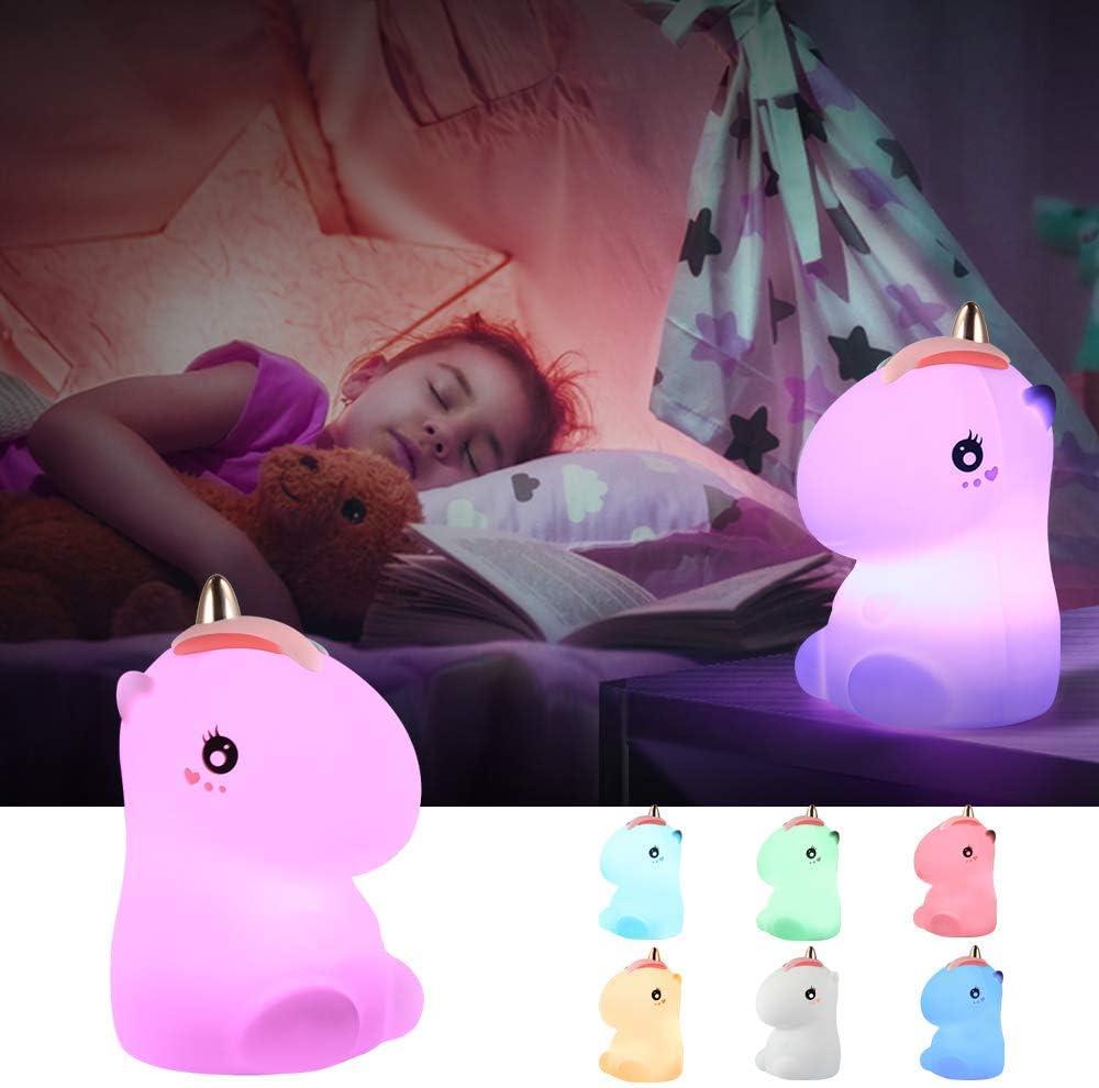 Luces de noche para niños, regalos de unicornio para niñas, juguetes para niños de 2 3 4 5 6 7 8 años, luz de noche linda de unicornio para guardería de Navidad (unicornio-rosado)
