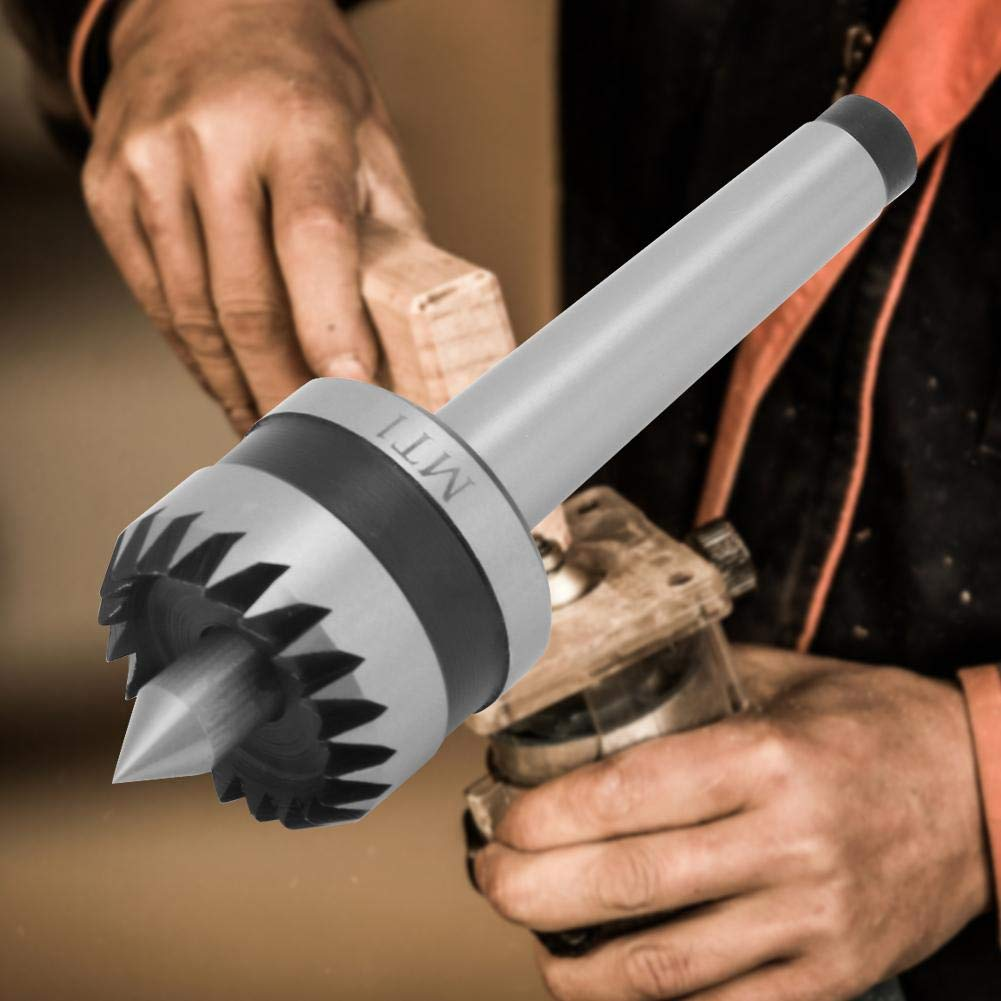 MT2 Utensile per tornitura del legno B Contropunta per cuscinetti per carichi pesanti Centro in metallo per tornio in metallo Punta a molla per centro per tornio in legno multitooth