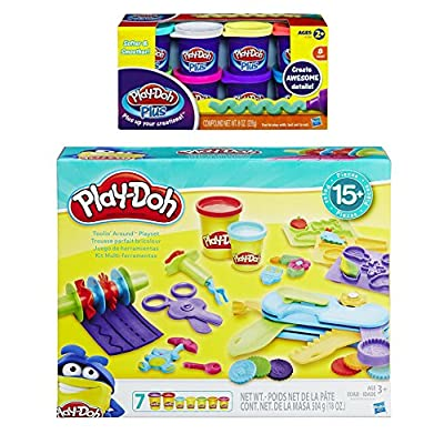 PD Play-Doh Toolin Around Playset + Play-Doh Plus Compound Bundle: Toys & Games