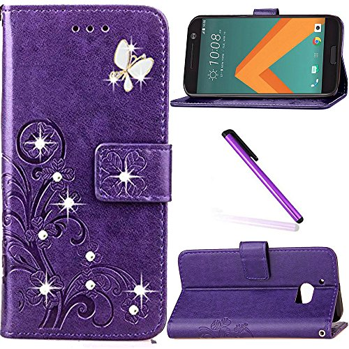 HTC 10 Case,HTC One M10 Case,HTC M10 Case,LEECOCO 3D Bling Crystal Diamonds Lucky Clover Floral with Card Slots Flip Stand PU Leather Wallet Case for HTC 10, Diamond Clover Purple
