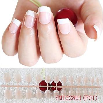 Hosaire 24pcs Falso Uñas Natural Manicura Uñas Nail Art Tip Décor Herramientas Beaux Falso Uñas: Amazon.es: Hogar