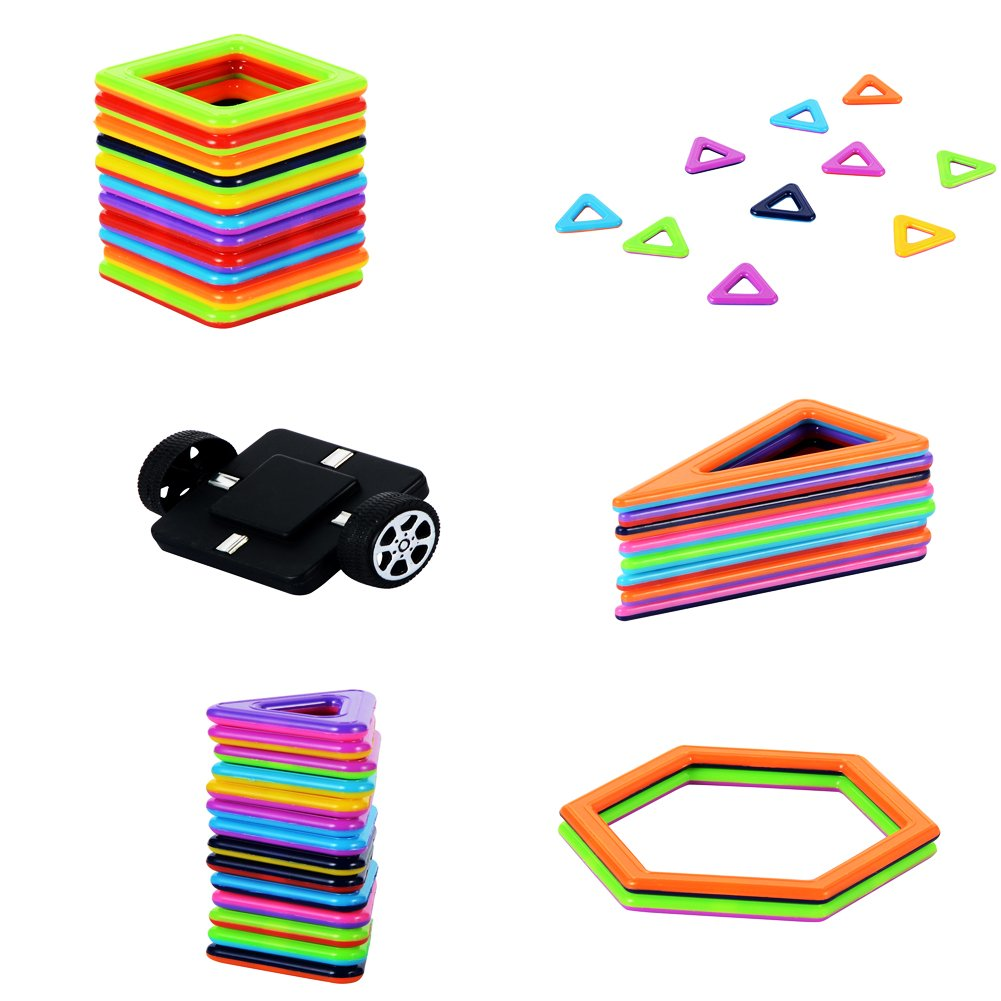 MUITOBOM Magnetic Building Blocks Set, 72 Pieces Magnetic Construction Stacking Educational Toys for Kids with Letter and Numbers Stickers