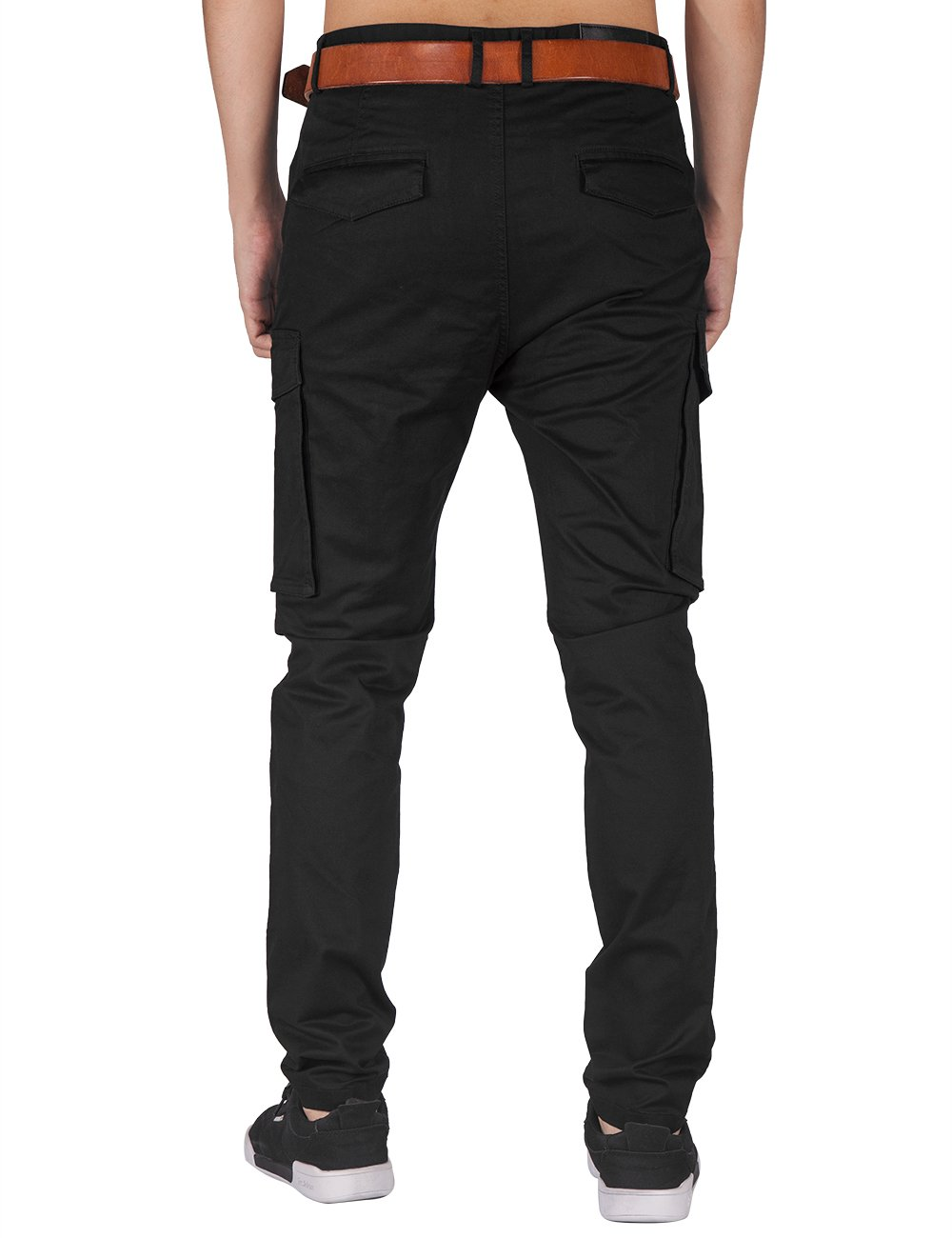 ITALY MORN Men Chino Cargo Jogger Pants Casual Twill Khakis Slim fit Black (S, Black) by ITALY MORN (Image #3)