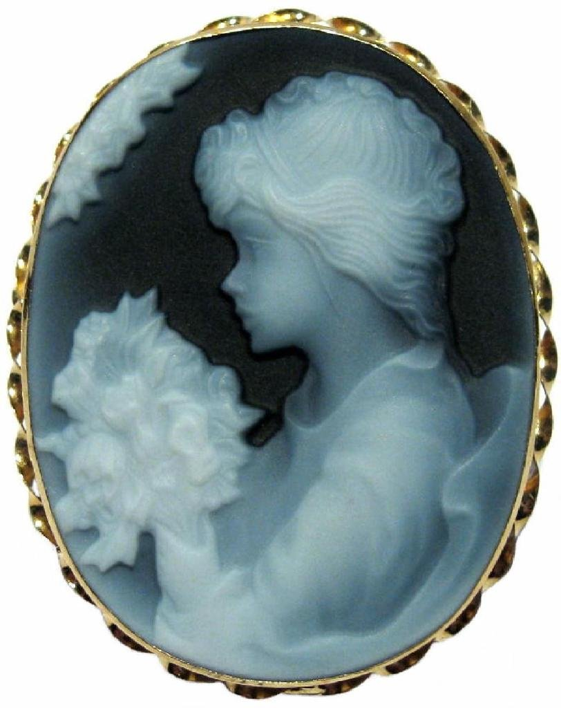 Cameo Pin Pendant Agate Stone Girl with Flowers 18k Yellow Gold Italian
