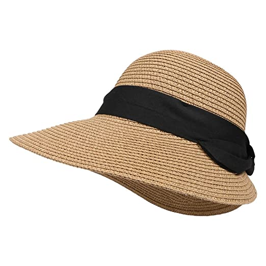 0817eae2208d46 Amazon.com: Toponly Women Straw Panama Hat Fedora Beach Sun Hat Wide Brim  Straw Roll up Hat UPF 50+ Outdoor Coffee: Clothing