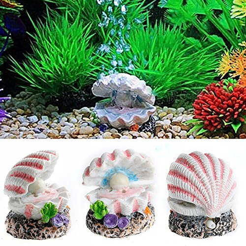 Efanr Cute Shaped Resin Air Bubble Maker Stone Oxygen Pump Fish Tank Ornament Decor Funny Aquarium Landscape Decoration Connect with Air Pump Aerator (Pearl Shell)