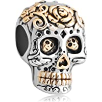 Skull Flower Charm Dia De Los Muertos Jewelry Sale Cheap Beads Fit Pandora Charms Bracelet