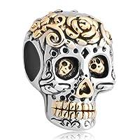 Uniqueen - Breloque motif tête de mort - Perles - Cadeau pour Halloween - Convient aux bracelets Chamilia et Troll