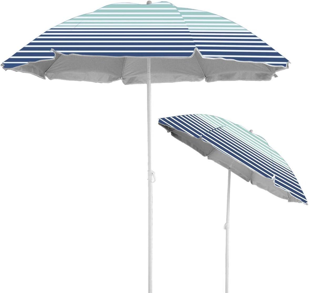 Caribbean Joe Chaby International Portable, Adjustable Tilt Beach Umbrella with UV Protection | Vented Canopy, Built-in Sand Screw Anchor, Carry Bag | 6 FT (Horizon Stripe) (CJ-UV72HS)