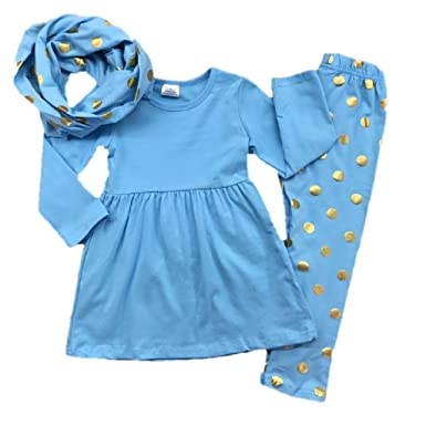 0bd625d44 Amazon.com: Baby Girl Toddler Outfit Tunic Scarf Leggings Infant ...
