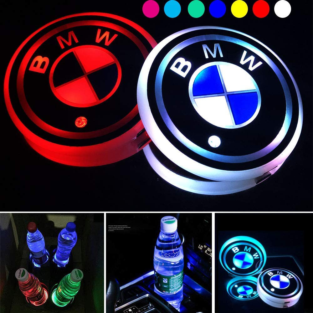 OSIRCAT 2.67 Inch LED Car Cup Holder Lights for BMW,Car Logo Coaster with 7 Colors Changing USB Charging Mat,Luminescent Cup Pad Interior Atmosphere Lamp Decoration Light(2PCS)