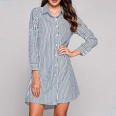 GMZVV Vestido Otoño Invierno Vestido de Camisa para Mujer Vestido de Manga Larga con Estampado de Rayas Vintage Vestidos Elegantes Vestido de Fiesta Vestido con Temperamento y Elegancia XL Azul celes: Amazon.es: